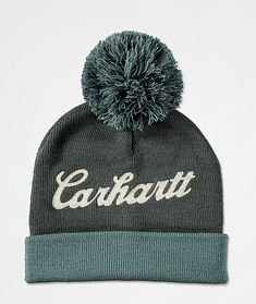 Finish your winter looks in the Chainstitch Logo blue and grey pom beanie from Carhartt. This tight-knit beanie features a soft acrylic construction in a dusty blue colorway and features a classic silhouette with a fold-over cuff and matching pom detail on top. Carhartt logo script is chain stitched at the front crown for a burst of signature branding, making this must-have beanie an easy addition to your workwear-inspired wardrobe.