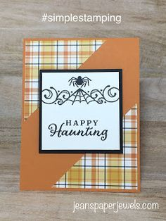 Jean's Paper Jewels: #SIMPLESTAMPING HALLOWEEN CARD Halloween Boo, Halloween Cards, Paper Halloween, Fall Cards, Holiday Cards, Its My Birthday Month, Leaf Cards, Stamping Up Cards, Thanksgiving Cards
