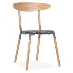 Cult Living Chic Dining Chair in Grey With Ash Veneer Back | Cult UK