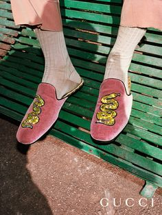 A crystal embellished snake on velvet slippers, an ankle-strap sandal with latex sock: shoes from the new collection in the Gucci Spring Summer 2017 campaign.