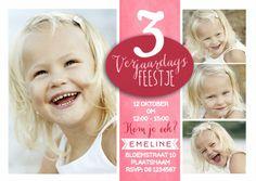 Een hippe uitnodiging voor een kinderfeestje. LEEFTIJD aanpassen! Collectie: Cartita Design -- KINDERFEESTJE --
