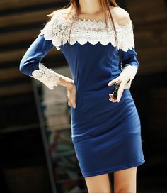 Charming Boat Neck Lace Splicing Color Block Long Sleeve Women s Dress 915ee7ddc77a