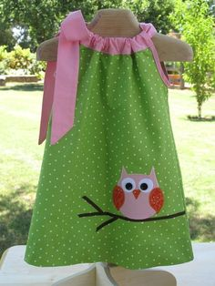 "Owl applique ""pillowcase"" dress. Gotta start making these! like the contrast at neck"