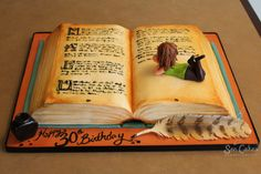 Jessicakes How To Make An Open Book Cake Inspirations Pretty Cakes, Cute Cakes, Beautiful Cakes, Amazing Cakes, Violetta Cake, Open Book Cakes, Bolo Diy, Cake Story, Novelty Cakes
