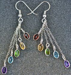 These sterling rainbow gemstone shower earrings earrings, so colorful and…