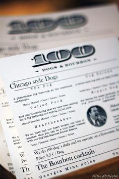 The menu from the restaurant 100 Dogs & Bourbon. Pretty impressive gourmet hotdogs.