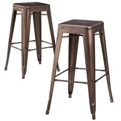 "Carlisle Metal 29.5"" Bar Stool - Copper (set Of 2)"
