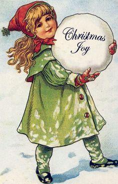 Merry Christmas girl with big snowball