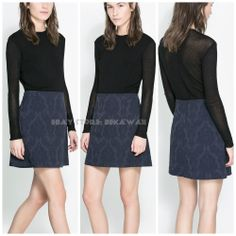 NWT ZARA JACQUARD MINI SKIRT Navy blue SIZE M #Fashion #Style #Deal