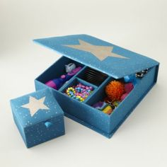 Adorable boxes for storage to special things! Sparkle Storage Boxes (Teal)  | The Land of Nod