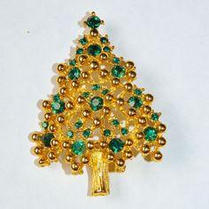 Eisenberg Green Rhinestone Christmas Tree Brooch Pin from Jen-n-l Vintage Jewels on Ruby Lane