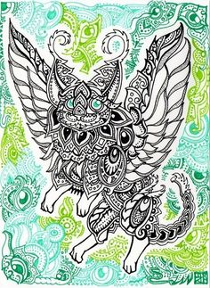 A trippy psychedelic drawing by Japanese artist Lutamesta of a winged cat in a tribal style that is perfect for tattoo designs Trippy Designs, Designs To Draw, G Dragon, Mushroom Tattoos, Psychedelic Drawings, Tribal Fashion, Japanese Artists, Online Art Gallery, Coloring Pages