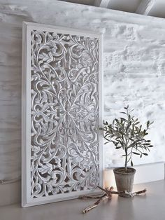 There is no end to the ways in which you can use these tall rectangular white carved wooden wall panels to add pattern and texture to your home. Wooden Wall Design, Wall Panel Design, Wooden Wall Panels, Wooden Walls, Textured Wall Panels, Carved Wood Wall Art, Metal Wall Decor, Unique Bedroom Furniture, Jaali Design