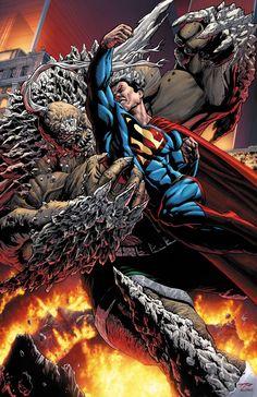 Superman vs Doomsday by Tony Parker, colours by ~BlondtheColorist