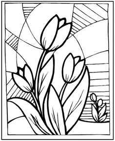 Stained glass flowers tulip coloring picture - sec - Blumen Glass Painting Patterns, Stained Glass Patterns Free, Glass Painting Designs, Stained Glass Designs, Mosaic Patterns, Spring Coloring Pages, Flower Coloring Pages, Free Coloring Pages, Coloring Sheets