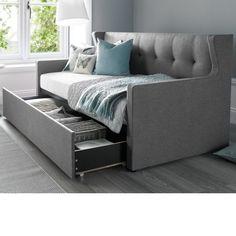 Gilford Contemporary Fabric Sofa Bed In Grey Mirrored Bedroom Furniture, Sofa Furniture, Pallet Furniture, Smart Furniture, Pink Comforter Sets, Bedding Sets, Platform Bed Designs, Beds Uk, Daybed With Trundle