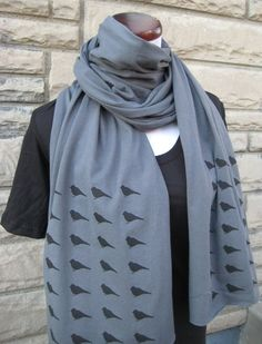 Blackbirds on Asphalt Gray Jersey Scarf Extralong by garbella, $22.00