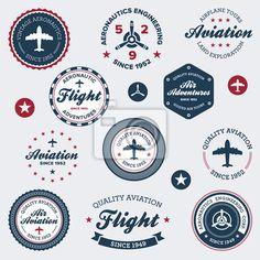 Sticker Mural vintage étiquettes aéronautique - avion