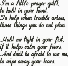 Quilt label I'm a Little Prayer Quilt to hold in your Hand Embroidery Design