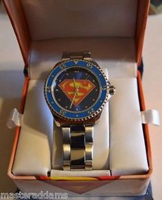SUPERMAN SHIELD WATCH w Metal Link Band & Display Box DC 2010 Battery Op MIB Display Boxes, Superman, Buy And Sell, Watches, Band, Metal, Accessories, Sash, Wristwatches