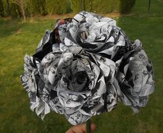 Walking Dead Comic Bouquet.  First Anniversary, Home Decor, Wedding Bridal Bouquet, Birthday Gift. Black White by JustCyndy on Etsy