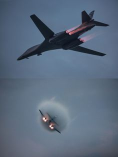 2 Rockwell Lancers in full afterburner, with the banking engulfed in a vapor cone as it breaks the sound barrier Military Jets, Military Aircraft, Air Fighter, Fighter Jets, Fighter Pilot, B1 Bomber, Military Pictures, Aircraft Design, Military Equipment