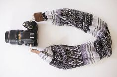 DSLR Camera Strap  Black and White Tribal Pattern by ImaniStudio