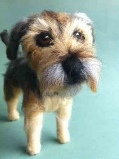 Needle Felted Border Terrier Dog Sculpture from Amelia Makes Art