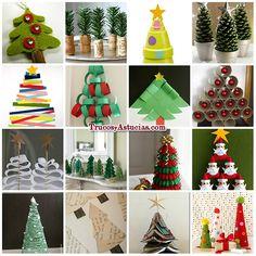manualidades de árbol de navidad en http://trucosyastucias.com/decorar-reciclando/manualidades-arbol-navidad