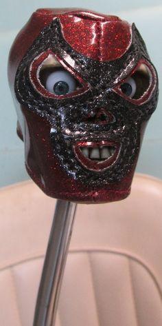 HouseOspeed - Hot Rod Shift Knob - Lucha Libre Hand-Stitched Masked Skull, $75.00 (http://www.hotrodshiftknob.com/lucha-libre-hand-stitched-masked-skull/)