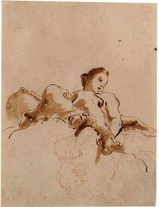 An angel seated on a cloud seen di sotto in su by Giovanni Battista Tiepolo (1696-1770, Italy)