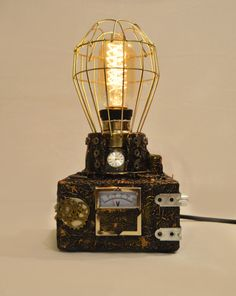 Steambox 1 Steampunk Heartless Steampunk light by CaptainHeartless Upcycled Vintage, Vintage Items, Repurposed, Lampe Steampunk, Recycling Center, Iron Pipe, Acrylic Plastic, Pipe Lamp, Industrial Lighting