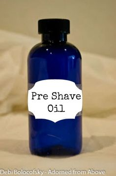 Adorned From Above: Pre-Shave Oil Recipe Pre-Shave Oil Recipe 2 oz. castor oil oz olive oil 6 drops sandalwood essential oil 3 drops lavender essential oil 2 drops clove essential oil Pour in a bottle and shake well. Natural Shaving Cream, Natural Beard Oil, Clove Essential Oil, Sandalwood Essential Oil, Homemade Beauty Products, Diy Cleaning Products, Diy Products, Acne Oil, Pre Shave