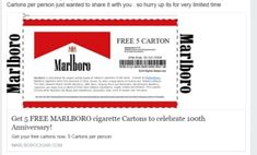 Have you heard? Soon to be trending on social media, Marlboro is givin g away 5 FREE Cartons of Cigarettes to everyone! Isn't that crazy? It's not only crazy, it's a downright lie. No way Marlboro would Free Coupons Online, Free Coupons By Mail, Cigarette Coupons Free Printable, Digital Coupons, Free Printable Coupons, Free Printables, Spirit Coupon, American Spirit Cigarettes, Marlboro Coupons