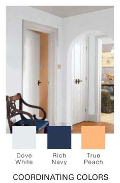 Glidden Paint Walls Rich Navy With Dove White Crown Molding And True Peach Accents