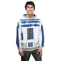 R2-D2 Costume Hoodie- Bleep bloop bleeeeeep    The best thing about wearing this R2-D2 Costume Hoodie is that as soon as you put it on, nobody expects you to say a thing. However, you may be expected to make assorted whirring and clicking noises, so it's best to be prepared.