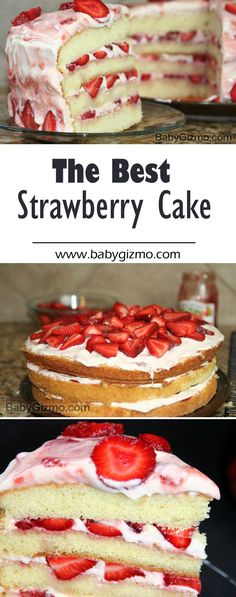 The perfect strawberry cake for Easter and spring! Layers of vanilla cake with strawberry cream frosting and fresh strawberries! #cake #strawberries #fruit