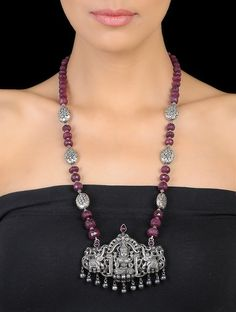 Buy Magenta Silver Goddess Lakshmi Beaded Necklace Semi Precious Stones Jewelry Necklaces/Pendants Online at Jaypore.com
