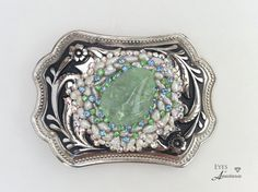 Western belt buckle, March Birthstone, Aquamarine gemstone, women's,  Swarovski crystals, Vintage rhinestones, Pearl, Free shipping