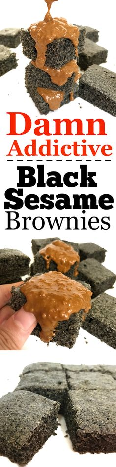 Super Addictive Black Sesame Brownies / Cake with Speculoos (Cookie Butter) Spread