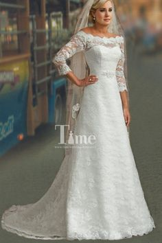 A-line 3/4 Sleeves Off the shoulder Lace Wedding Dresses with Buttons WD151029