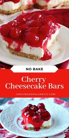 These easy no bake cherry cheesecake bars are sure to be a hit with family and friends. Whip up a batch or two today! #cherry #cheesecake #nobake #dessert #nobakecheesecake #recipevideo