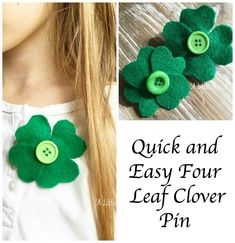 Four Leaf Clover decorative pin DIY