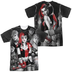 BATMAN/BAD GIRLS (FRONT/BACK PRINT)-S/S ADULT POLY CREW-WHITE-SM