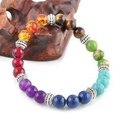 7 Chakra Triplet Bead Bracelet