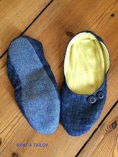 federleichte pantoffeln, schlappen, hausschuh ideal für die reise -  upcycling aus alten hosen- fotoanleitung bei rentatailor.de
