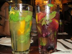 """Farzana & Aliasgar Mukhtiar at the preview of Mojito Mania festival at Hard Rock Cafe Pune.     """"After settling down we then proceeded to order the Mojitos which had both the virgin and the non virgin versions and Food Platters of Non veg, Veg assorted Mix and Nachos ........Yes it was Delicious."""""""