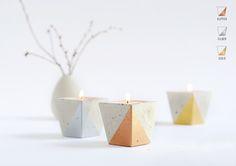 2 Teelichthalter - Teelichthalter aus Beton – METALLIC - ein Designerstück von motoroto bei DaWanda