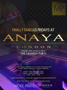 Friday Nights at Anaya. The Launch.
