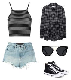 """""""Random"""" by se17teenblack ❤ liked on Polyvore featuring Topshop, T By Alexander Wang, Quay, Converse, 6397 and stripedshirt"""